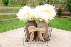 Burlap Chicken Wire Basket Mason Jar Centerpiece Shabby Chic Wedding Shower Home Decor Fall Autumn by CORAandPLUM on Etsy