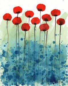Serendipity  Red Flowers  Giclee Print 8x10 by printmakerjenn, $20.00