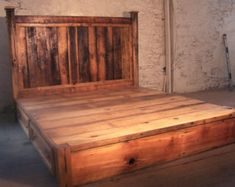 As warm and inviting as a country summer in the Shenandoah Valley, our unique bed frame is handcrafted from solid reclaimed oak for an authentic look and feel that is impossible to replicate in any other way! This bed stands out for its rustic charm and the creative touch of actual vintage sliding barn door hardware, recalling those magical days of play and adventure from our childhood summers. Shown in reclaimed antique oak with Provincial stain, it is also available in knotty pine, wormy…