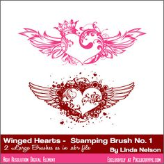 "Photoshop Brushes Free Download .abr files: ""Winged and Crowned Hearts No.1″ Photoshop Brush .abr or Gimp Brush"