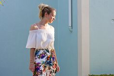 Off the shoulder top + tropical print skirt