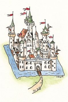 Goose Castle - Art Print of watercolor painting 8x10 nursery baby shower silly