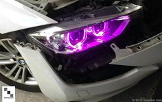 Purple Lights Shown. Bumper Removed In This Example To Access Lights. Lighting Accessories, Performance Parts, Bmw Cars, Color Change, Halo, Kit, Lights, Purple, Light Fixtures