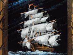 Vintage Black Velvet Painting Nautical Ship Pirate Ghost Wood Velvet Painting, Wolf Painting, Ebay Shopping, Ship Paintings, Black Velvet, Vintage Black, Pirates, Color Schemes, Nautical
