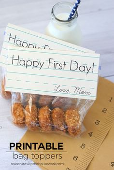 Free Printable First Day of School Bag Toppers are the perfect addition to a breakfast treat on the first day of school!