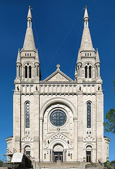 The front face of the Saint Joseph's Cathedral in Sioux Falls, South Dakota.