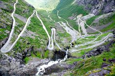 If you're thinking of hiring a car on your gap year you better check none of these poo-your-pants scary roads are on your route, or bad things could happen. | Trollstigen (English: Trolls' Path) is a serpentine mountain road in Rauma Municipality, Møre og Romsdal county, Norway.