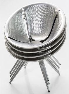 Ross Lovegrove designed an aluminium stacking chair for Italian furniture brand Moroso.