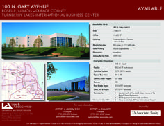 100 N. Gary Avenue Roselle, IL Size sqft. 1,652-17,304 SF Unit Category Office, Industrial Trans. Type Lease Company  Lee & Associates