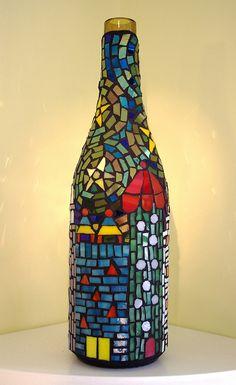 Mosaic wine bottle by Meaco's Art Garden Mosaic Bottles, Mosaic Vase, Mosaic Tile Art, Mosaic Flower Pots, Mosaic Garden, Mosaic Crafts, Mosaic Projects, Glass Bottle Crafts, Wine Bottle Art