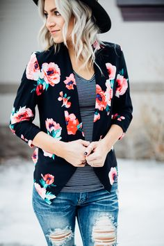 Black Floral Blazer - Obsessions Boutique