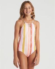Girls' Me N You Hanky Tie Y2082BME | Billabong Polka Dot Bikini Set, Striped Swimsuit, Girls Sports Clothes, Skinny Leather Pants, Little Girl Swimsuits, Little Girl Models, Young Girl Fashion, Striped One Piece, Kids Swimwear