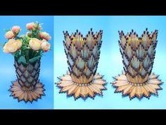 VAS BUNGA Dari KOREK API KAYU   Ide kreatif Korek kayu ! Vase with Matchsticks   Flower Vase DIY - YouTube Handmade Flowers, Diy Flowers, Paper Flowers, Rope Crafts, Diy Home Crafts, Popsicle Stick Crafts, Craft Stick Crafts, Origami Jewelry Box, Water Bottle Crafts