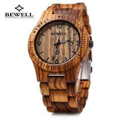 Bewell ZS - W086B Wood Men Watch Analog Quartz Movement Date Display (ZEBRA WOOD) in Men's Watches   DressLily.com