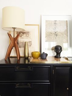 A vignette in Anna Ullman's home showcases her midcentury leanings.   Lonny
