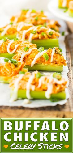 Buffalo chicken dip celery sticks are loaded up with spicy chicken and then cove. - Buffalo chicken dip celery sticks are loaded up with spicy chicken and then covered in ranch dressi - Finger Food Appetizers, Yummy Appetizers, Appetizer Recipes, Appetizer Party, Cocktail Party Appetizers, Pinwheel Appetizers, Healthy Finger Foods, Healthy Snacks, Healthy Recipes