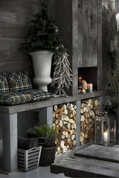 33 Stylish Shades Of Grey Christmas Decor Ideas Winter Cabin, Winter House, Cozy Winter, Home Decor Bedroom, Living Room Decor, Outdoor Spaces, Outdoor Living, Decoration Shabby, Marquise