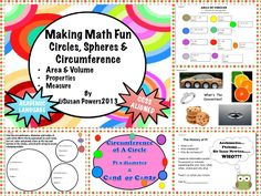 PI DAY!  One of the best ways to learn math is with hands on,fun inquiry that engages the kids in the concepts involved. This week long, differentiated geometry lesson delves into the properties of circles and spheres, teaches how to calculate the area of a circle and the volume of a sphere. The formulae are clearly presented with colorful posters, practice problems and many opportunities through crafts, activities and realia to grasp the concepts and practice the skills.