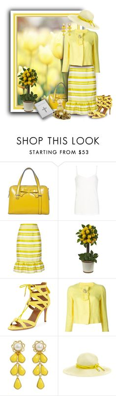 """""""Pale Yellow Tulips"""" by franceseattle ❤ liked on Polyvore featuring Comptoir Des Cotonniers, RED Valentino, Nearly Natural, Aquazzura, Ermanno Scervino, Kate Spade, Benoît Missolin and Annick Goutal"""