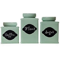 This set of 3 Chalkboard Message Stoneware Canisters will add country charm and elegant decor to your kitchen counters.