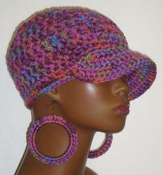 Purple Multi Chunky Crochet Baseball Cap and Earrings by Razonda Lee