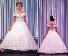 SAMPLE SALE Size Small (2)/ Off Shoulder Lace Ball Gown with 3D Flowers and Lace Appliques-Ball Gown (model #Alice PB146) Ready To Ship $1,000.00