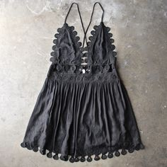 summer lace mini dress - black - shophearts - 1