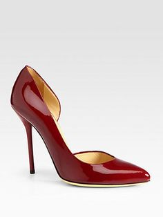 Gucci - Noah Patent Leather d'Orsay Pumps #15Things #fashion #style #trending #workit #work #interview #professional #shoes #red #patent #Gucci #dorsay