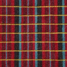 London Transport Routemaster upholstery by Douglas Scott. Cut moquette pile in brown, maroon, red and light green with vertical stripes of yellow loops.