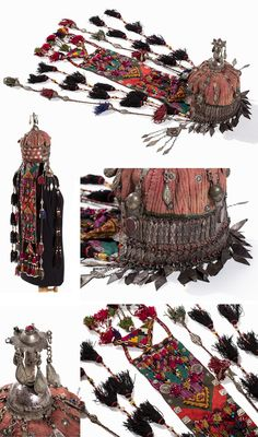 Turkmenistan / Afghanistan | Turkoman Wedding Headdress; Quilted cotton, glass beads, carnelians, metal, silver | ca. late 19th to early 20th century | Est. 2'400€ ~ (Jan '15)