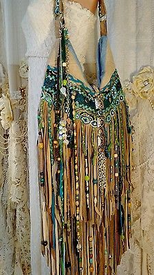 Custom for Borenda Tan Suede Fringe Shoulder Bag Tribal Boho Beads Purse tmyers
