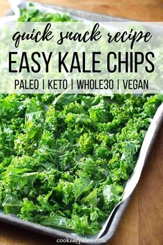 How to make kale chips—a quick and easy healthy snack to satisfy your crunchy craving. These easy baked kale chips are great for snacking or served with lunch. Keto, low carb, paleo, and vegan. How To Make Kale, How To Eat Paleo, Quick Snacks, Healthy Snacks, Keto Snacks, Healthy Rice, Dinner Healthy, Healthy Nutrition, Making Kale Chips