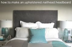 I showed you the DIY upholstered headboard in our guest room reveal, but here's a tutorial of how to make a nailhead upholstered headboard of your very own. I didn't invent the wheel upholstered headboard here folks, I just wanted a cheaper version of the Tall Nailhead Upholstered Headboard from