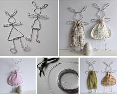 Patchwork Salad: Wire Bunnies - Easter Bunnies - Crafts With Ice Cream Sticks Bunnies - Trend Quotes Love 2019 Wire Crafts, Diy And Crafts, Crafts For Kids, Arts And Crafts, Hoppy Easter, Easter Bunny, Easter Eggs, Wire Art, Easter Crafts