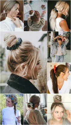 Scrunchie ou frufru dos anos 80 e 90 está de volta - - Donut Bun Hairstyles, Over 40 Hairstyles, Celebrity Hairstyles, Curled Hairstyles, Trendy Hairstyles, Wedding Hairstyles, Scrunchy Hairstyles, Hairstyles 2018, Scrunchies