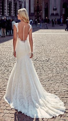 eddy k milano bridal 2017 sleeveless lace straps deep v lace mermaid wedding dress (md202) bv illusion back train