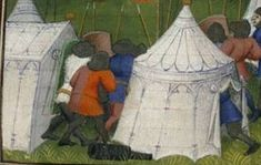 The Design of Medieval and Renaissance Pavilions.   More straight sided, car-port like tents.  Maybe I just wasn't paying attention.