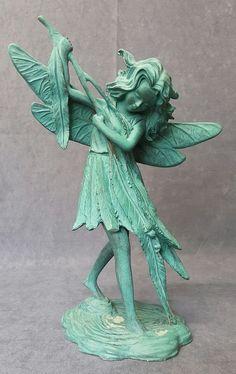 Large Vintage Green FAIRY Fantasy Resin Figurine Ornament --H: 24 cm