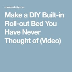 This DIY Built-in Roll-out Bed is a very creative project that hides entire bed inside. This is the perfect solution for small spaces and tiny apartments. Roll Out Bed, Built In Sofa, Tiny Apartments, Diy Pallet Furniture, Refinished Furniture, Murphy Bed, Diy Projects To Try, Fun Crafts, Sweet Home