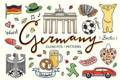 Germany Illustrations Patterns Graphics Hand drawn Germany symbols illustrations for your design :)---All elements are available in vector by redchocolate Bonn Germany, Koblenz Germany, Rothenburg Germany, Bremen Germany, Stuttgart Germany, Cologne Germany, East Germany, Germany Memes, Germany Tattoo