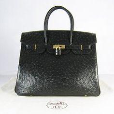 aa6cbd2169a Sacs Hermès Pas Cher Birkin 35cm Ostrich Veins Sac Noir 6089 Best Handbags