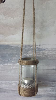 DIY - jar lantern with jute. Fill with sand and shells, then add tea light.