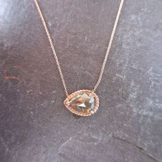 Pear Diamond Pendant Sideways 14 kt Rose Gold Prong Set Miligrain Edging Modern Grey Rose Cut Rustic Diamond Stacking