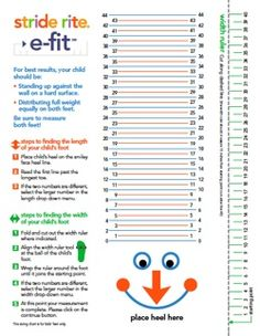 Stride rite kid s shoe sizing chart pdf printable free sister s