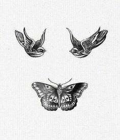 Harry Styles tattoos of 2 swallows and a butterfly that make a smiley face
