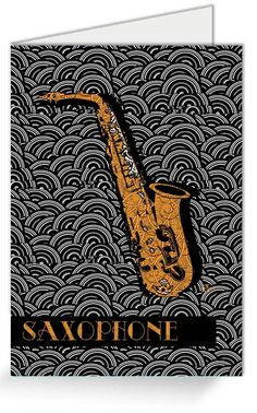 Saxophone Pop Deco Swing ( Greeting Cards for sale) by Cecely Bloom