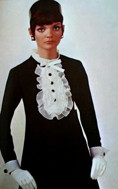 1967 Linda Morand is wearing designs of Christian Dior and Yves Saint Laurent, Vogue Pattern