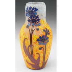 Legras Vase, bulbous shape,in mottledy ellow, orange, blue and frosted glass with a colorful enameled floral design