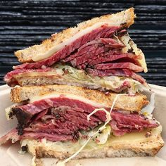 A walk to the Ferry building on Saturday mornings should always end in a smoked Pastrami Reuben (with Russian dressing, Swiss cheese and cole slaw on rye bread.) @wisesons #pastrami #sandwich #ferrybuildingfarmersmarket #sfeats #sf