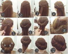 53 Ideas Hair Updos Chignon Hairdos For 2019 Popular Hairstyles, Up Hairstyles, Pretty Hairstyles, Braided Hairstyles, Wedding Hairstyles, Easy Vintage Hairstyles, 1800s Hairstyles, Historical Hairstyles, Edwardian Hairstyles
